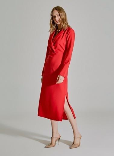 People By Fabrika Kruvaze Yırtmaçlı Elbise Kırmızı